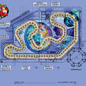The track layout for the Little Mermaid dark ride at Disney California Adventure.