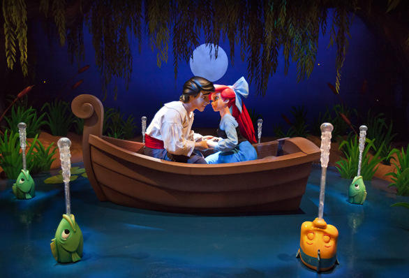 "The ""Kiss the Girl"" scene from the Little Mermaid ride at Disney California Adventure."