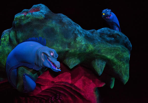 Flotsam and Jetsam guard the entrance to Ursula's lair in the Little Mermaid ride at Disney California Adventure.