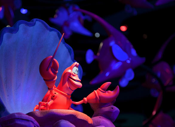 Sebastian the crab conducts an undersea orchestra in the Little Mermaid ride at Disney California Adventure.