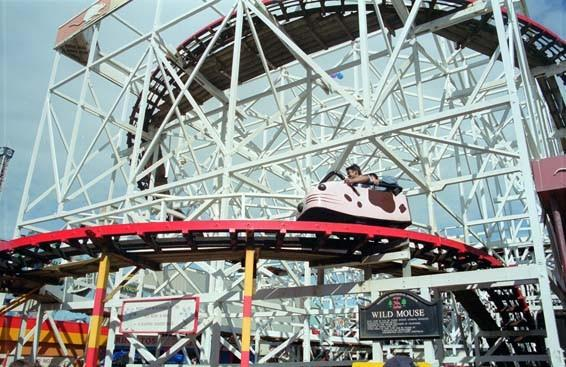 The 1958 Wild Mouse wooden coaster at Blackpool Pleasure Beach.