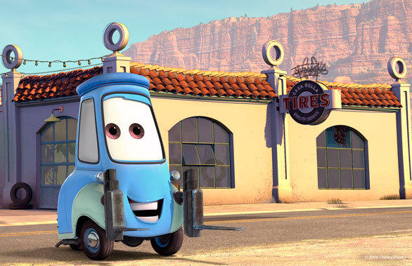 Guido the forklift will appear inside the tire shop that serves as the ride queue for Luigi's Flying Tires at Disney California Adventure.