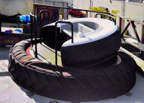 "Walt Disney Imagineers used this ""play test"" vehicle to fine-tune and adjust the levitating bumper car ride."