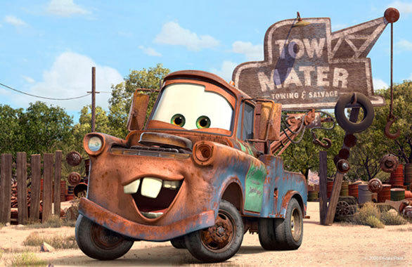 "Tow Mater, the rusty good ol' boy tow truck from the animated Disney/Pixar ""Cars"" movies, serves as the host of Mater's Junkyard Jamboree at Disney California Adventure."