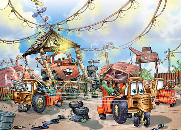 "Mater serves as a ""Hee Haw""-esque disc jockey,  instructing riders to ""whip to the left and whip to right."""