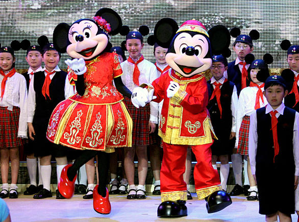 Minnie Mouse and Mickey Mouse at the unveiling ceremony for Shanghai Disney.