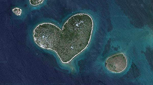 "Galesnjak Island, located in the Adriatic Sea off the coast of Croatia, became famous when its unusual shape was highlighted on Google Earth in 2009. The privately owned island is available for engagements, weddings and tourism. For more information, visit <a href=""http://www.ilovegalesnjak.com"">http://www.ilovegalesnjak.com</a>."