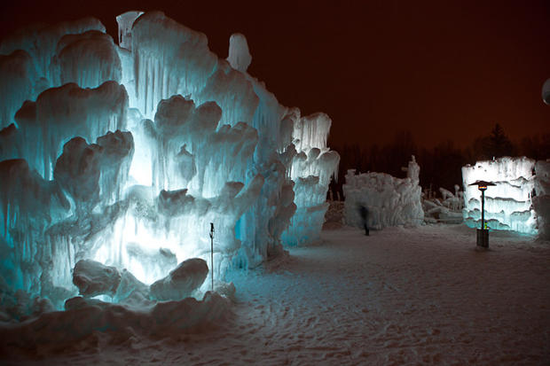 "In Silverthorne, Colo., Brent Christensen has created a frosty, fairy-tale-like landscape out of icicles. His Ice Castles, as they are called, currently rise 15 to 20 feet and stretch across about an acre of land. At their height, they'll reach 30 to 40 feet high and together weigh about 10,000 tons. <a href=""/travel/deals/la-trb-offbeat-traveler-ice-castles-at-silverthorne-colo-20120109,5,5715867.photogallery""><span style=""color: #2262CC;"">More photos...</span></a>"