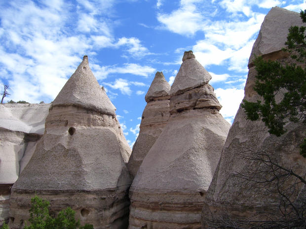 Kasha-Katuwe's hoodoos, also called tent rocks, are formed from debris spewed from volcanic eruptions that occurred 6 million to 7 million years ago.