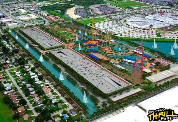 Aerial view of the proposed Orlando Thrill Park.