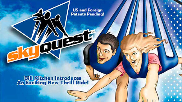 13. SkyQuest riders fly like hang gliders in a harness while suspended from a ski lift-style moving cable. The $2-million concept by US ThrillRides will be unveiled for the first time in 2012 at the Indianapolis Zoo. The 120-foot-tall Orlando Thrill Park version would travel a circuit around the 77-acre park.