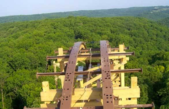 A view from the top of the Outlaw Run hybrid wood-steel coaster coming to Missouri's Silver Dollar City.