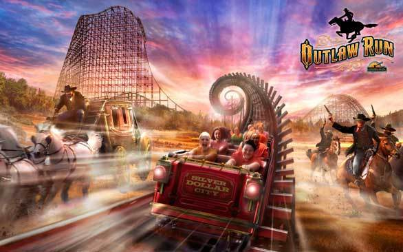 An artist's rendering of the stage coach robbery-themed Outlaw Run hybrid wood-steel coaster coming to Missouri's Silver Dollar City.