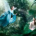 "Actress Julie Andrews is the Blue Fairy from ""Pinocchio"" with actress Abigail Breslin as Fira from the ""Disney Fairies."""