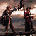 "Actor Johnny Depp as Captain Jack Sparrow and singer-songwriter Patti Smith as a pirate from ""Pirates of the Caribbean."""