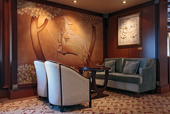 Art Deco motifs are the trademark of Cunard ships, old and new.