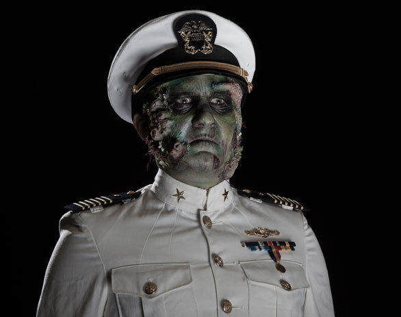 The Captain, the lead character created for Dark Harbor 2012, still commands his undead sailors in the new Deadrise maze at the Queen Mary's Dark Harbor.