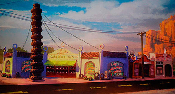 An artist rendering of Luigi's Flying Tires in Radiator Springs at Disney California Adventure.