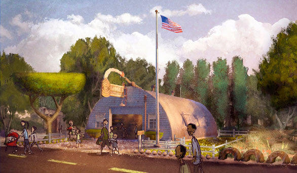 An artist rendering of Sarge's Surplus Hut in Radiator Springs at Disney California Adventure.