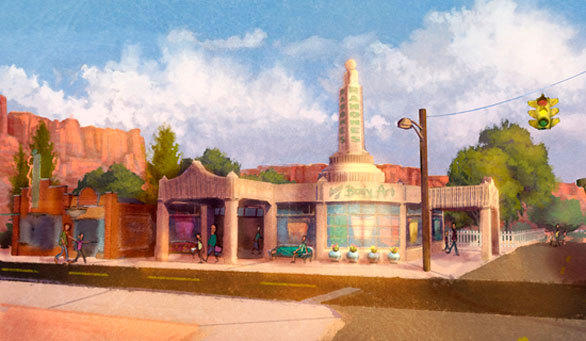 Concept art of Ramone's House of Body Art in Cars Land at DIsney California Adventure.