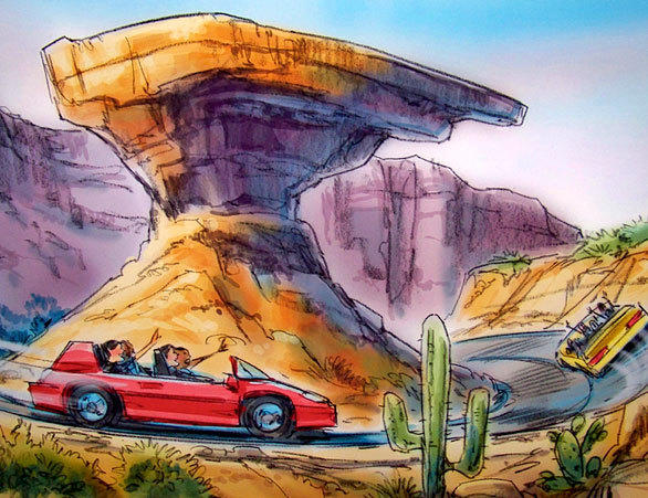 Radiator Springs Racers cars race around buttes in the outdoor section of the ride at Disney California Adventure.