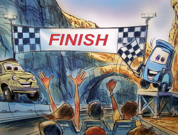Concept art shows Luigi the tire shop owner and Guido the forklift at the finish line. In the current storyline, Luigi and Guido will now drop the flag to start the race.