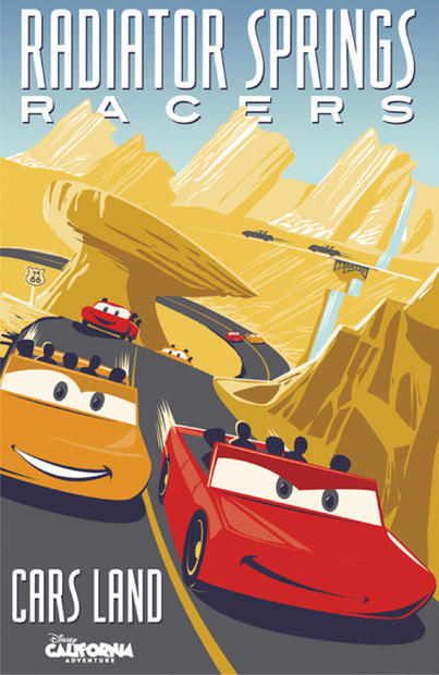 The attraction poster for Radiator Springs Racers ride debuting in Cars Land at Disney California Adventure.