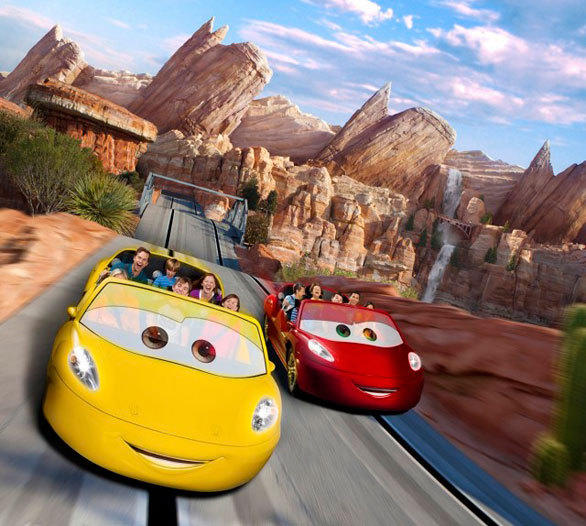Radiator Springs Racers ends with a side-by-side drag race in Cars Land at Disney California Adventure.