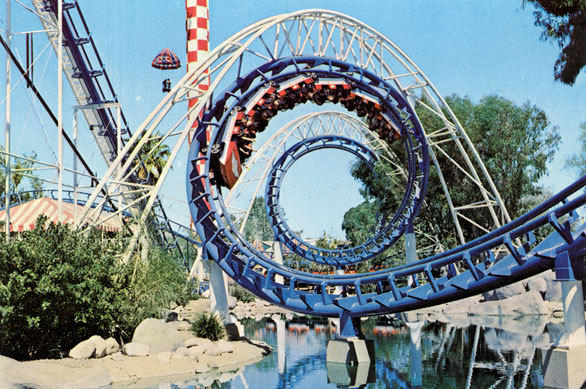The Corkscrew, one of the first inverted steel roller coasters, opened in 1975 at Knott's Berry Farm.