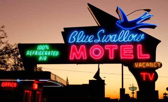 The Cozy Cone office, run by Sally the Porsche in the movie, recalls the Blue Swallow Motel, a neon beacon in Tucamcari, N.M.