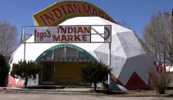 Fillmore's Taste-In drink stand in Cars Land looks similar to the former Ortega's Indian Market geodesic dome in Lupton, Ariz.