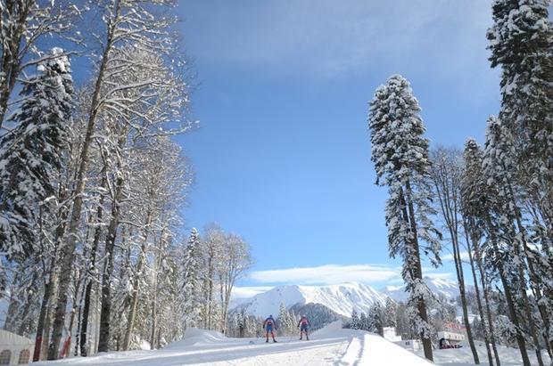 Cross-country skiers practice before World Cup competition at Krasnaya Polyana, Sochi, where the 2014 Winter Olympics will be held.