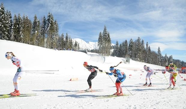 Racers fight for the lead in World Cup women's cross-country competition at Krasnaya Polyana, Sochi. Next year's Winter Olympics are expected to draw teams from about 85 countries.