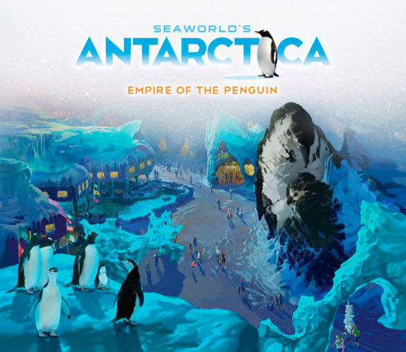 Concept art of the new Antarctica land at SeaWorld Orlando shows 55-foot-tall glaciers in the shape of nuzzling penguins towering over shops, restaurants and an as-yet-unannounced attraction.