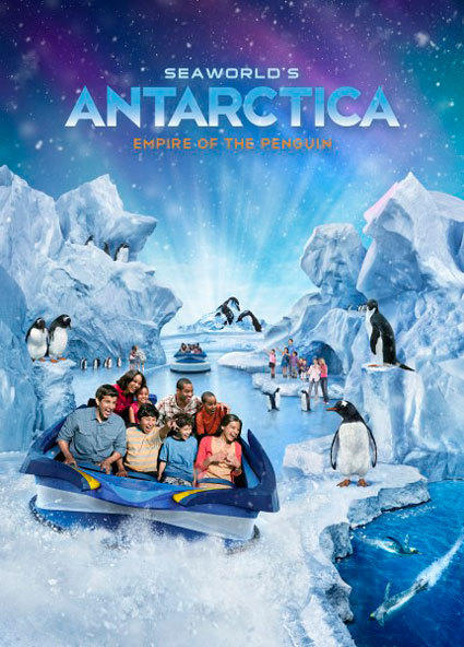 An attraction poster for the Antarctica: Empire of the Penguins attraction coming to SeaWorld Orlando.