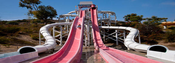La Jolla Falls is one of several existing water slide tower complexes at Knott's Soak City in Chula Vista, soon to be converted into SeaWorld's Aquatica.
