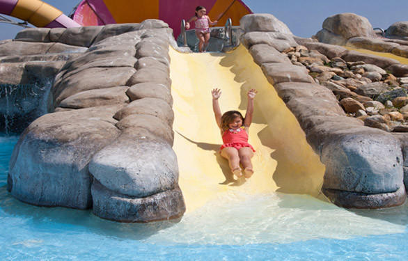 Seven of the 27 water slides at Knott's Soak City are located in the Tykes Trough water play area for kids.