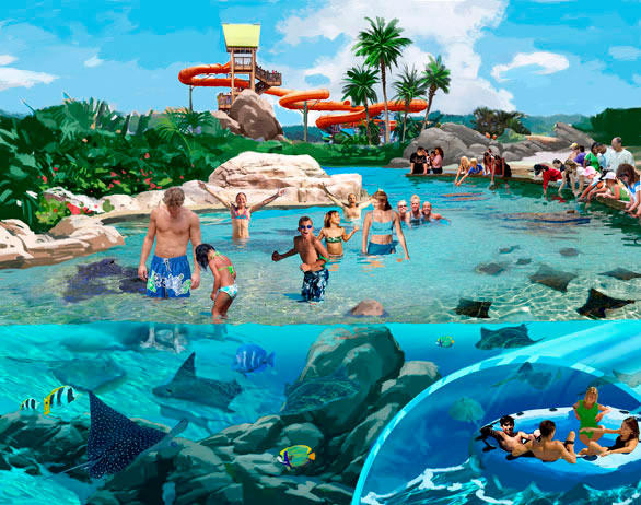 Concept art of an underwater water slide passing through the stingray-filled Ke Re Reef at SeaWorld San Antonio.