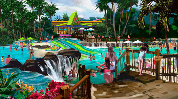 The Whanua Waters pool at SeaWorld San Antonio provides a good example of the South Seas thematic overlay expected to be applied to SeaWorld San Diego's new Aquatica water park.