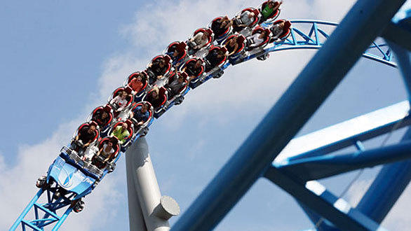 SeaWorld San Diego's Manta represents a significantly more compact version of the 125-foot-tall, 3,500-foot-long Blue Fire coaster in Germany, which features heart rate monitors, video screens for each rider and lap bar-only restraints.