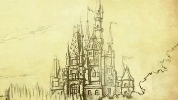 A pencil sketch of the Storybook Castle planned for the Shanghai Disneyland theme park.
