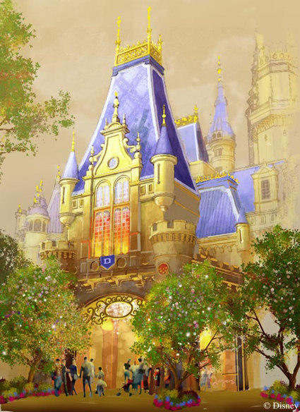 An artist rendering of the Shanghai Disneyland castle, the largest castle Disney has ever built at a Magic Kingdom-style park.