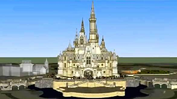 A digital rendering of the front of the Shanghai Disneyland castle.