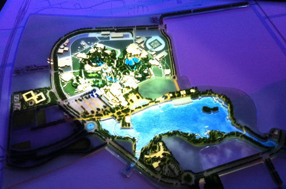 A scale model showing the general layout of Shanghai Disneyland.