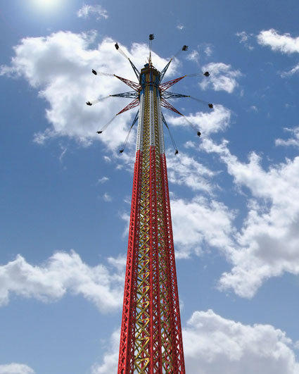 At Six Flags Over Texas in Dallas-Ft. Worth, the Sky Screamer will stand 400 feet tall, setting a new height record for a swing tower.
