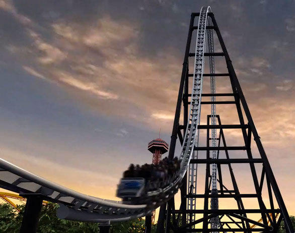The Full Throttle coaster descends from the top-hat element at Six Flags Magic Mountain.