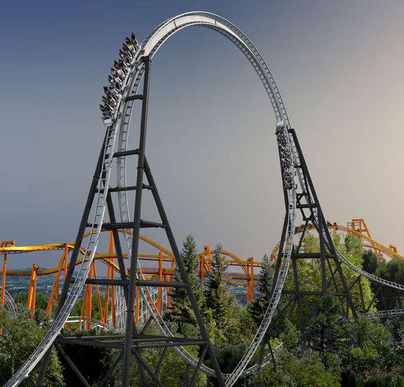 The Full Throttle coaster will climb over a top-hat element tracing the outside of the ride's record-setting loop.