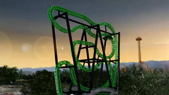 The Green Lantern will become the 18th coaster to populate the skyline at Six Flags Magic Mountain.