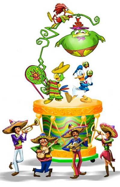 "Concept art of the ""Three Caballeros"" float in the ""Mickey's Soundsational Parade"" at Disneyland featuring Donald Duck, Jose the parrot and a mariachi band."