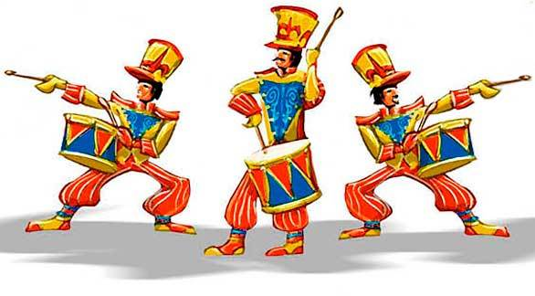 "Concept art of the drum troupe in the ""Mickey's Soundsational Parade"" at Disneyland."